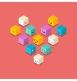 Isometric love heart symbol emoticons icons vector image vector image