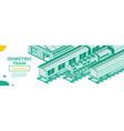 isometric train locomotive outline cargo train vector image vector image