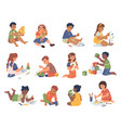 kindergarten children playing and studying set vector image