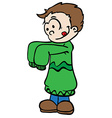 little boy in big colthes vector image vector image