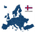 map of europe with highlighted faroe islands vector image