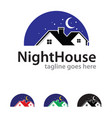 night house logo template design vector image