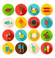 picnic grill circle icons set vector image vector image