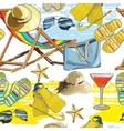 seamless pattern summer recliner on the sand with vector image vector image