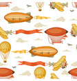 seamless pattern with retro air transport vintage vector image vector image