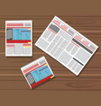 set newspaper on wooden table vector image vector image