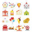 set of amusement park fun icons vector image vector image