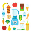 set of cartoon food for smoothie with blender vector image vector image