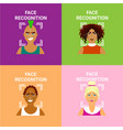 set of face recognition icons biometric scanning vector image