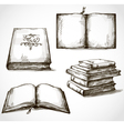 set old books drawings vector image vector image
