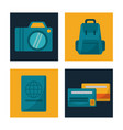 set travel camera backpack credit card passport vector image