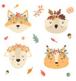 set tribal animals in crowns squirrel fox owl vector image vector image