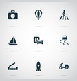 shipment icons set with moped slippery way vector image