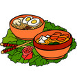 still life with japanese food on lettuce leaf vector image