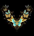 Symmetrical Pattern of Golden Butterflies vector image vector image