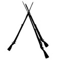 the black silhouette of vintage military rifles vector image vector image