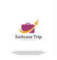travel logo with suitcase and airplane travel vector image vector image