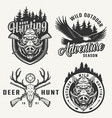 vintage hunting club prints vector image vector image