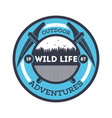 wildlife adventures vintage isolated badge vector image