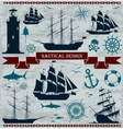Set of sailing ships with nautical design elements vector image