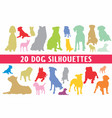 20 dogs silhouettes various design set vector image vector image