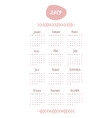 2019 calendar with the months and year written by vector image vector image