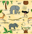 african animals and plants safari animals vector image vector image