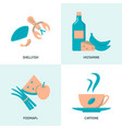 allergic products icon set in flat style vector image