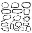 bubbles speech doodle set hand drawn doodle style vector image