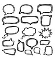 bubbles speech doodle set hand drawn doodle style vector image vector image