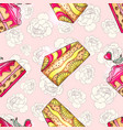 cakes seamless pattern with peony vector image vector image