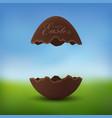 chocolate egg 3d happy easter text broken brown vector image