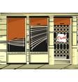 closed shop window with blank board vector image