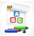 Color markers and letters in vector image vector image