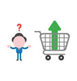 confused businessman character with arrow moving vector image
