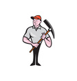 Construction Worker Holding Pickaxe Cartoon vector image