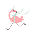 cute flamingo running wearing party hat beautiful vector image vector image