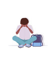 depressed schoolboy with backpack crying vector image