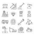 diamond mining signs black thin line icon set vector image