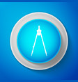 drawing compass icon isolated on blue background vector image