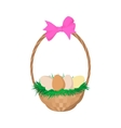 Easter eggs in the basket cartoon icon vector image