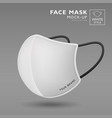 face mask fabric white color mock up side view vector image vector image