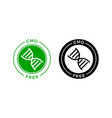 gmo free icon green non gmo dna label vector image vector image