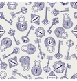 Hand drawn locks and keys pattern vector image