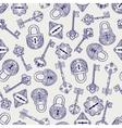 Hand drawn locks and keys pattern vector image vector image