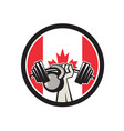 hand lifting barbell kettlebell canada flag vector image vector image