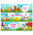happy easter and egg hunting banners vector image