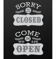 Image of various open and closed business signs vector image vector image