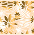 ivory and beige tropical foliage seamless pattern vector image vector image