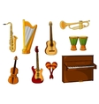 Large set of various musical instruments vector image